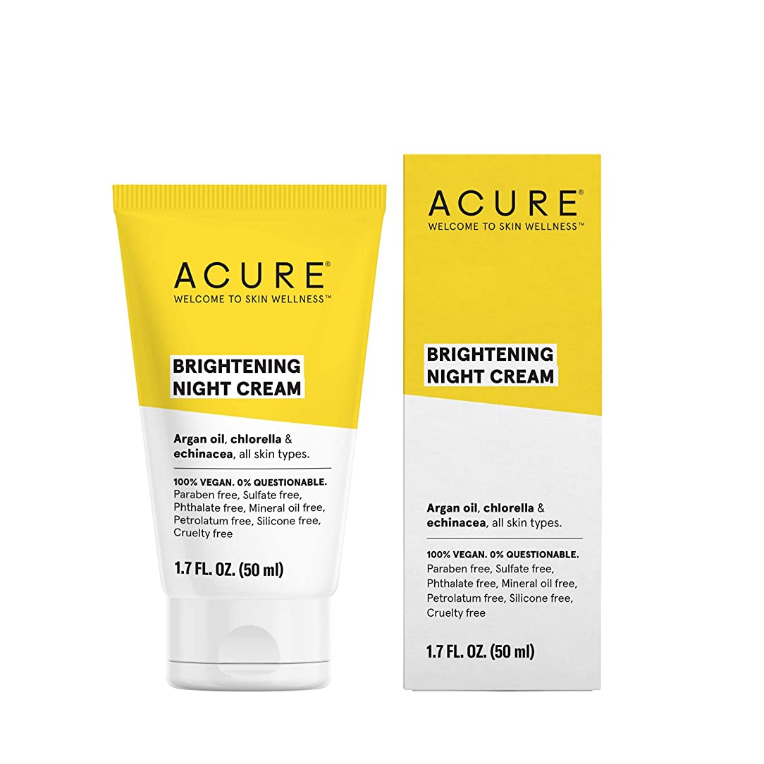 軽減歯車住人Acure Organics, Night Cream, Argan Stem Cell, 1.75 fl oz by Acure Organics