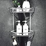 Rozhuhro Estante De Ducha De 2 Niveles Sin Taladros con 2 Ganchos Antioxidante Autoadhesivo De Aluminio Aeronáutico para No Dañar El Montaje De Pared En Los Baños De Cocinas,Plata