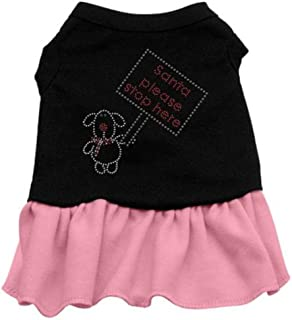 Mirage Pet Products Santa Stop Here Rhinestone 12-Inch Pet Dress, Medium, Black with Pink