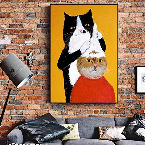 Pinturas en lienzo Gato negro Barbero Champú Animal de dibujos animados en la pared Póster artístico e impresiones Imagen divertida Decoración para habitación de niños Cuadros-40X60cm_Framed