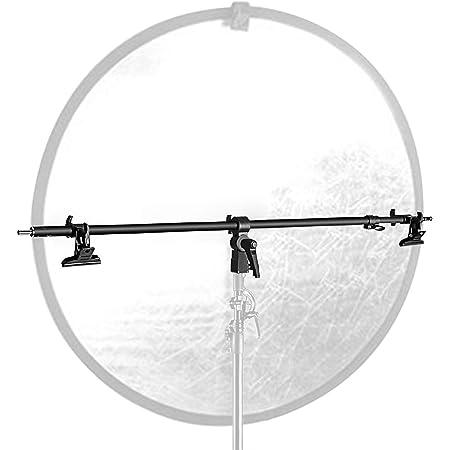 Neewer Braccio di supporto per riflettore video, retrattile e telescopico, con 2 morsetti per supporto luce, riflettori, sfondi per ritratti