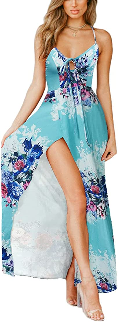 Nhicdns Women's Sexy Summer Deep V Neck Backless Maxi Dress Floral Print Formal Dress Tropical Dresses for Beach