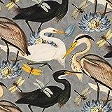 Dekostoff TIFFI Kraniche, Libellen, Blumen, grau/ab 50