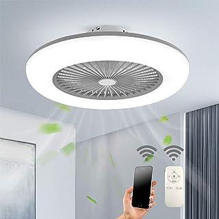 Ventilador de Techo con Iluminación Luz LED Velocidad del Viento Ajustable Temperatura 3 Colores Regulable con Control Remoto 32W Lámpara de Techo LED Moderna Para Dormitorio Sala de Estar Comedor
