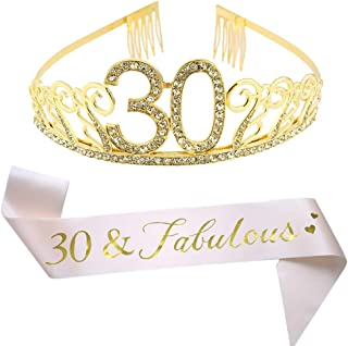 30th Brithday Gold Tiara and Sash, Glitter Satin 30 & Fabulous Sash and Crystal Rhinestone Birthday Crown for Happy 30th Birthday Party Supplies Favors Decorations Birthday Cake Topper