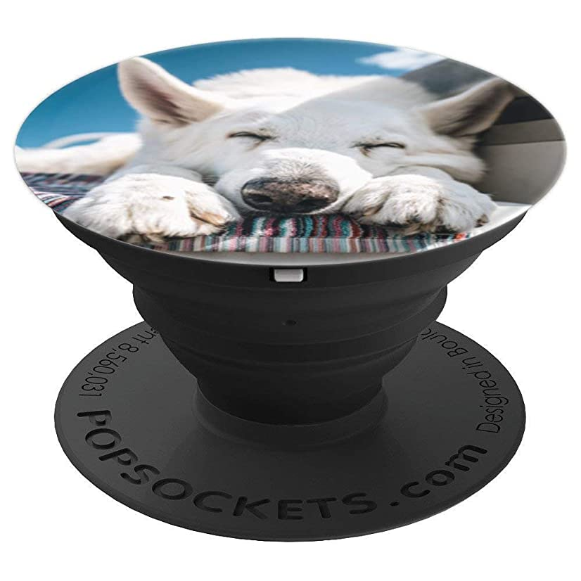 Sleepy White Shepard - PopSockets Grip and Stand for Phones and Tablets