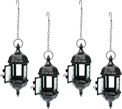 Fenteer Pack 4 Pieces Iron Chain Tea Light Candle Holder for Home Coffee Shop Wedding Hanging Decor -Black