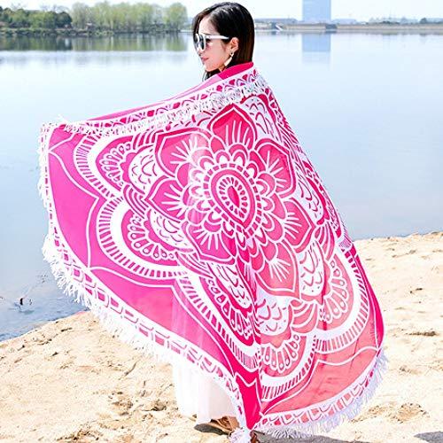 LBY - Bufanda de Playa de Gasa para Mujer, Suave, cómoda, antiUV, Ultrafina, Redonda, para Vacaciones, Viajes, Primavera y Verano, 150 x 150 cm B-2.