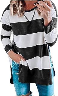 Women Stripe Pullover Tops O Neck Long Sleeve Sweatshirt Shirts Blouse E-Scenery