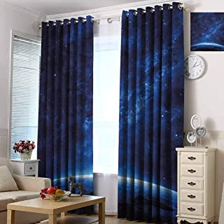 hengshu World Room Darkened Insulation Grommet Curtain Earth View at Night from Space Atmosphere Stars Fantastic Cosmic Galaxy Nebula Living Room W84 x L96 Inch Blue and White