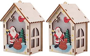 Cemnneohg Christmas Hut Decorations Night Light, Simulated Flame Candle LED Christmas Style Lantern, Santa Claus Snowman Elk