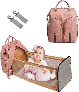 Babytasche mit Bett Mama Tasche Faltbar Baby Tragbar Rucksack Oxford-Stoff Große Kapazität Muttertasche Multifunktional Reiserucksack Wasserdicht für Reisen Kinderwagen Unterwegs Baby-Pflege Warmrosa