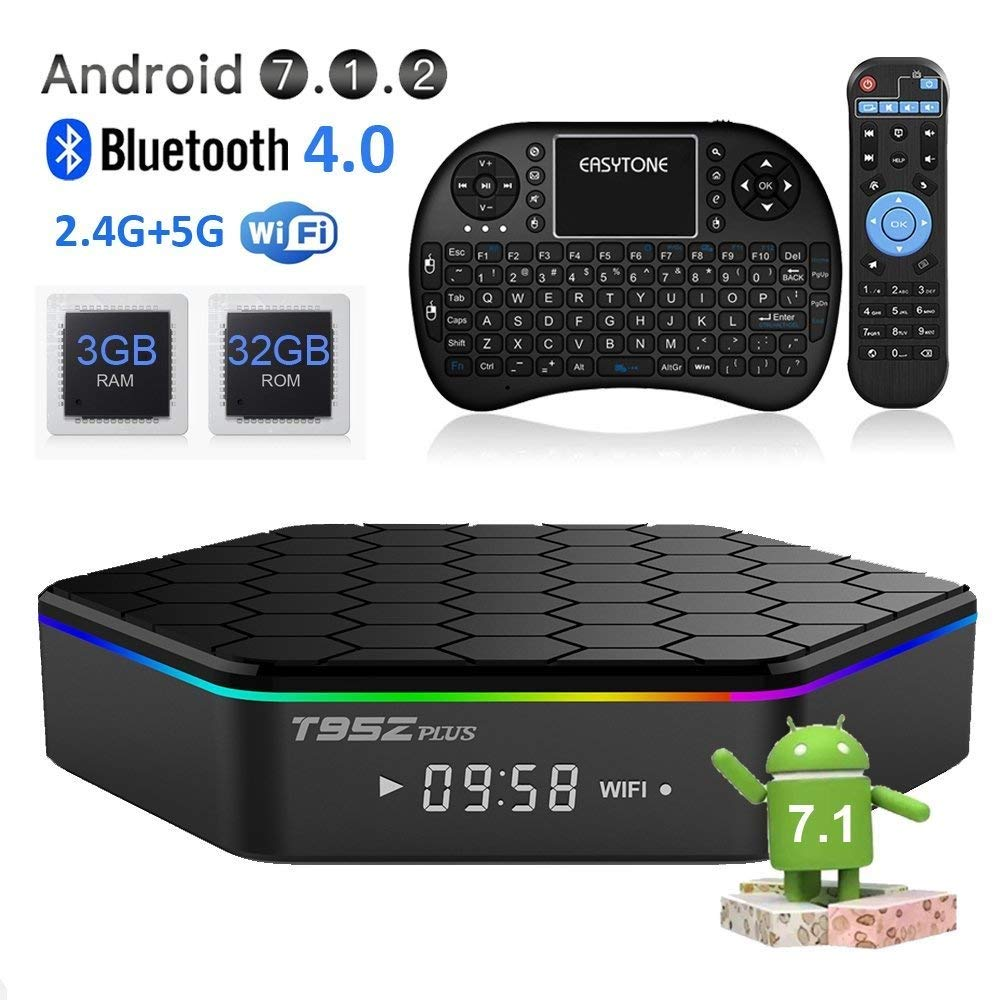 Maikoler Android TV Box 3GB 32GB, Android 7.1 TV Box Octa-Core, Dual-Band Wi-Fi 2.4/5.8G Smart Boxes Android Mini PC con Teclado inalámbrico Remoto: Amazon.es: Electrónica