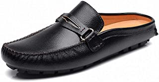 Men's Classic Leather Slippers Office Casual House Slip On Backless Loafers