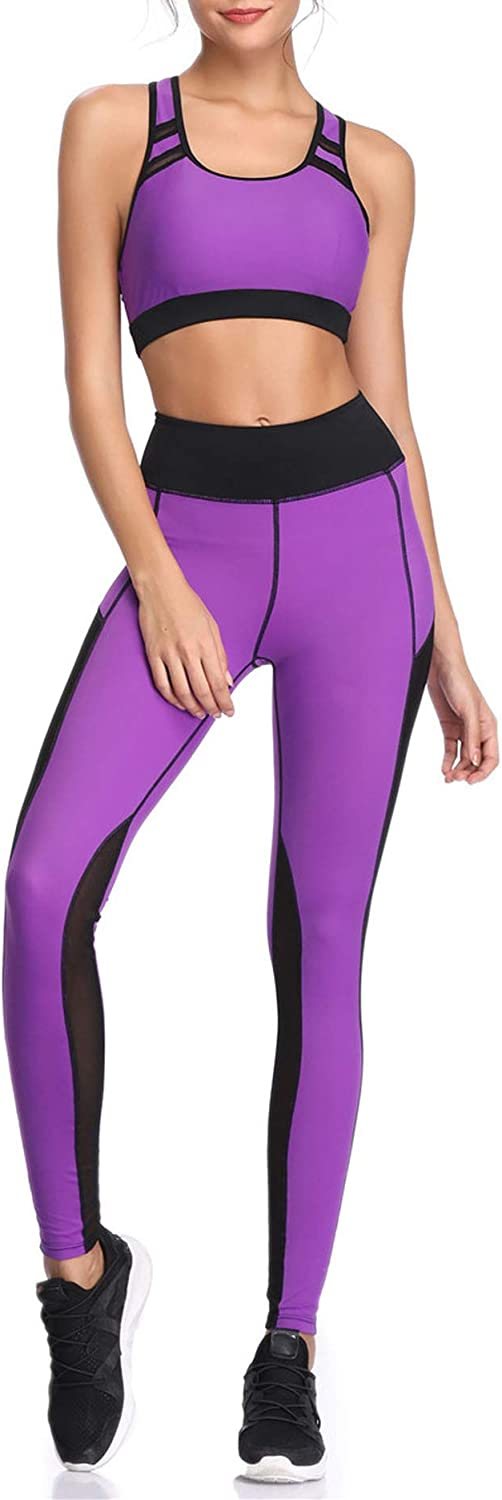 Can't be satisfied Women Yoga Leggings Sports Vest Running Suits Yoga Set Female Gym Wear,Purple,XL