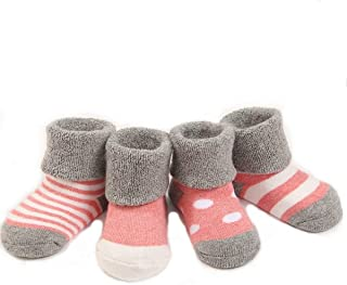 GRyiyi Baby Socks Unisex infant Turn Cuff Socks for 6-12 Months Baby, 4 Pair (Denim Blue) (muted red)