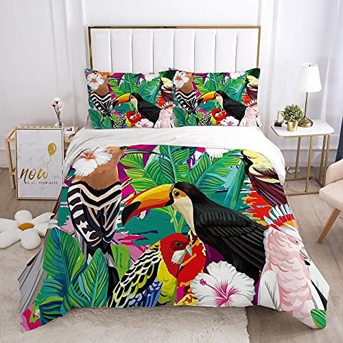 KSjrDdiog Biancheria da letto - Piante foglie colorati uccelliset di biancheria da letto set da 3 pezzi copripiumino con chiusura lampo in microfibra 135x200cm 2 federe 65 x 65 cm
