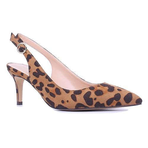 d7f837dff07 SUNETEDANCE Women s Slingback Pumps Pointed Toe Kitten Heels Sandals Slip  On Stiletto Mid Heels Shoes