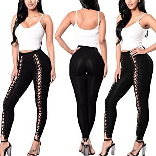 EDTara Women's Sexy High Waist Hollow Bandage Solid Color Slim Leggings Outer Pants for Beautiful Ladies