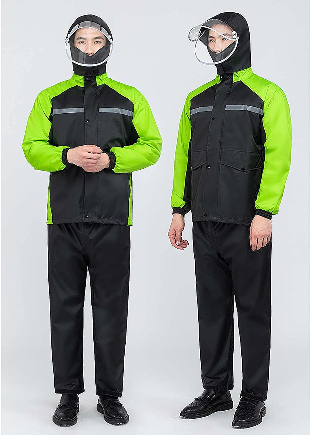 FHGH It is very popular Double-Layer Commuter Split Raincoat famous Thickened Reflective
