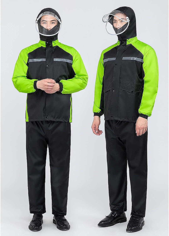 FHGH Double-Layer Commuter Split Raincoat, Thickened Reflective Men's Raincoat Set, Detachable Double Brim,D,XLarge