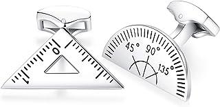 HONEY BEAR Maths Protractor Ruler Cufflinks Stainless Steel for Mens Shirt Wedding Business Gift Silver