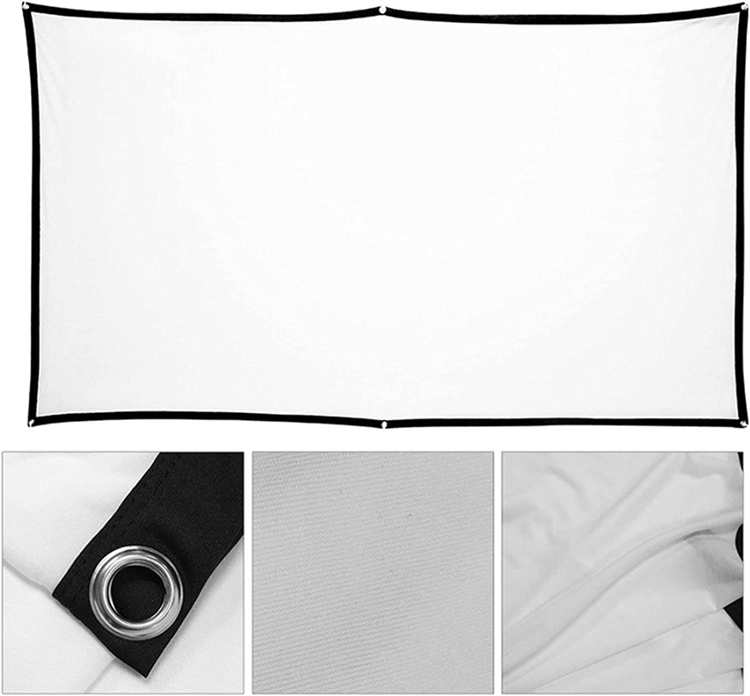 Bulaxxooo Projection Screen, 100Inch Foldable Anti-Crease Portable Projection Movies Screen for Indoor Outdoor Home Office Theater Video Film
