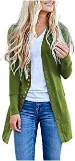 HAPPIShare Womens Open Front Long Cardigans Loose Lantern Sleeve Cable Knit Duster Kimono Sweater with Pockets