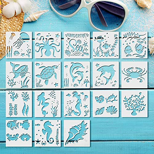 Gukasxi 18pcs Sea Ocean Creatures Stencils Templates Sea Animal Painting Stencils Reusable Undersea Theme Drawing Stencils for DIY Craft Scrabooking Paintings on Wood Fabric (13x13cm/5.1x5.1inch)