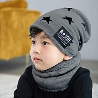 COODIO 2Pcs Winter Cute Five Pointed Star Pattern Thicken Warm Knitting Hat Neckerchief Set for Kids for Fashion Jewelry