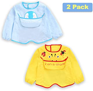 2 Pcs Long Sleeved Bib Set | Full Coverage Baby Waterproof Bibs with Pocket Bundle | Toddler Bib with Sleeves and Crumb Catcher | Stain and Odor Resistance Play Smock Apron - Pack of 2 | 6-24 Months