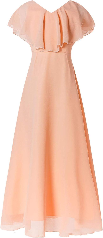 JEEYJOO Kids Girls Sleeveless Chiffon A-line Ruffle Wedding Junior Bridesmaid Birthday Prom Dress