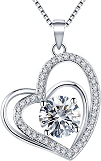 Heart Necklaces 5A Cubic Zirconia heart Pendant Necklace Jewelry 14k Gold Plated Necklaces for Women