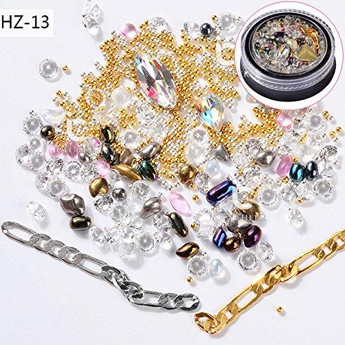 Icycheer Nail Art Mix 3d DIY Decorationo Strass Paillettes Diamant Punk Métal Doré Chaîne Mini boîte de cristal Perles
