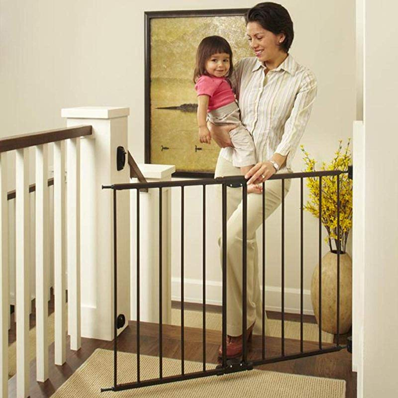 North States 47 85 Easy Swing Lock Baby Gate Ideal For Standard Or Wider Stairways Swings To Self Lock Hardware Mount Mounts Included Fits 28 68 47 85 Wide 31 Tall Bronze