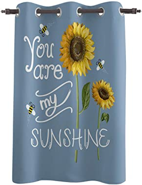 Z&L Home Blackout Window Curtains Thermal Insulated Drapes Sunflower Bees You are My Sunshine Grommet Window Panel Darkening