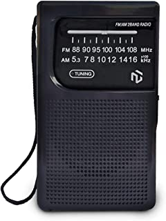 NT North Tech - Best AM FM Battery Operated Pocket Radio | Top Antenna Reception | Portable Compact Transistor Radio | Lon...