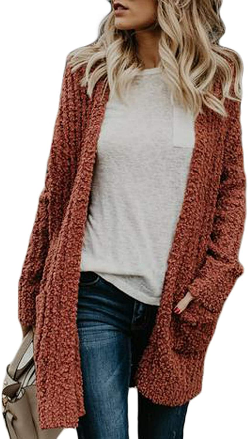 Dearlove Womens Open Front Color Block Long Cardigan Sweater Coat with Pockets