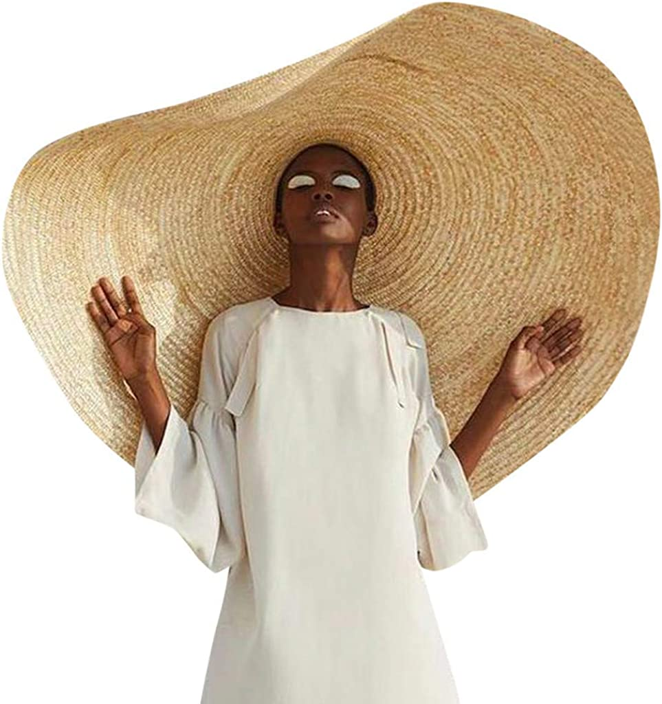 Fashion Large Hat Wide Brim Sun Hat Beach Anti-UV Sun Protection Foldable Stage Cap Cover Body Straw Hat