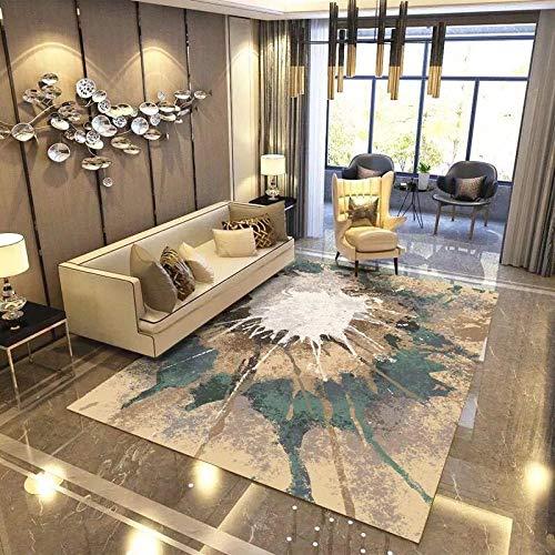 CMwardrobe Wohnzimmer Große Teppich Moderne Designer Gelbgrün-weiße Kunstgalerie Home Dekorative Teppich Boden Kachel Pflegeleicht 140×200CM(4ft7 x 6ft7)