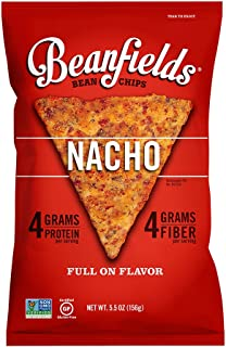 Beanfields Bean Chips, High Protein and Fiber, Gluten Free, Vegan Snack, Nacho, 5.5 Ounce (Pack of 6)