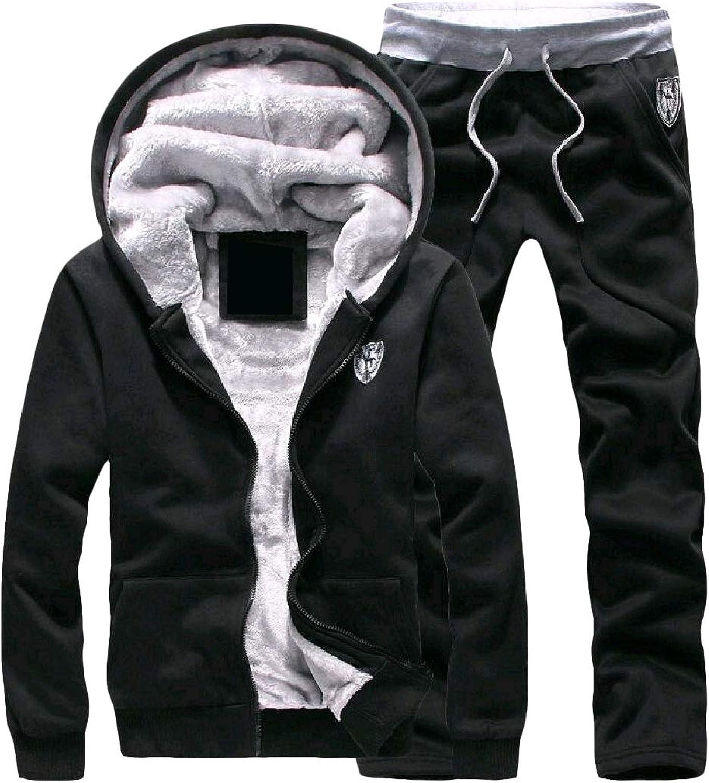 DressU Men's Plus Velvet Warm Hooded Oversize Sweatsuit Pants Set