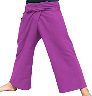 Brand Plain Thicker Muang Cotton Fisherman Wrap Pants