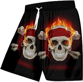 Kurze Hosen Herren Shorts Mann Lose Strandshorts 3D Red Flame Skulls Herren Lieblingsshorts Casual 5XL