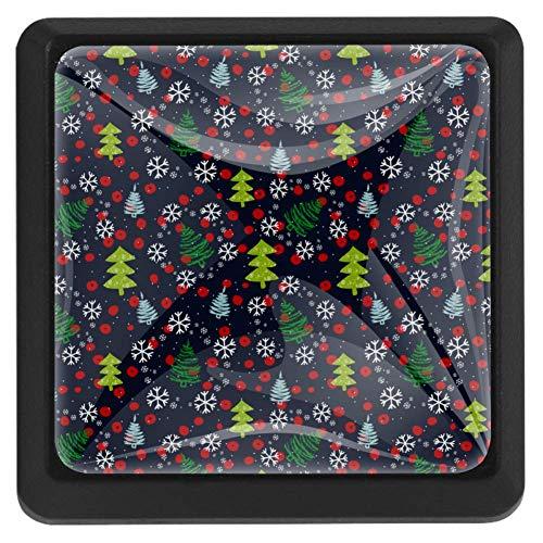 Türknauf/Schubladengriff, Motiv bunte Fußabdrücke auf schwarzem Glas, Dunkles Weihnachtsbaum- und Schneeflocken-Muster, 3.5 × 2.8cm / 1.38 × 1.1in