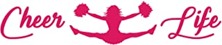 Cheer Life Cheerleading Pom Poms X Jump Vinyl Decal Sticker Car Window Bumper Die Cut 6-Inches Premium Quality UV Resistant Cheer Leader Jump in the Air (6-Inches, Hot Pink) JMM00293HTPNK6