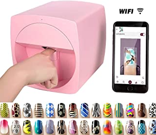 Multifunction Portable Nail Art Printers Machine Transfer Picture Nails Machine - Wifi Wireless Easy All-Intelligent 3D Nail Printers Over 800 Pictures Pink