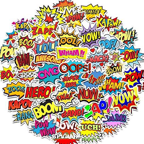 BLOUR Wörter Aufkleber Ups Bang Boom Wow Pow Graffiti Aufkleber für Laptop Skateboard Gitarre Kühlschrank wasserdichte Abziehbilder 50pcs