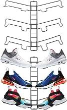 mDesign Modern Metal Shoe Organizer Display & Storage Shelf Rack - Adjustable Shelves Hang & Store Kicks, Running, Basketb...