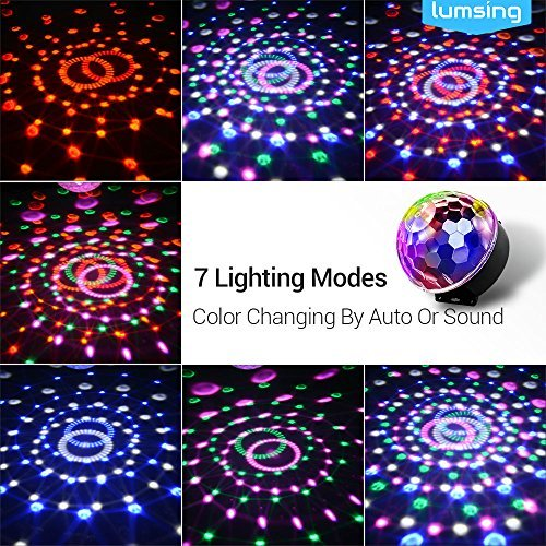 Lumsing DJ Disco Strobe Stage Lights Rotating Magic Ball Club Bar Party LED Stage Effect Light 7 Color Auto Voice Activated Lighting